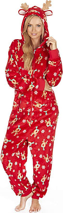 Forever Dreaming Ladies Adult Christmas All-in One Jumpsuit - Flannel Fleece Material - Applique Ears/Antlers - Sizes XS-XL Red