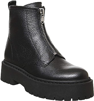 Office Abuzz - Chunky Front Zip Boot Black Leather - 4 UK