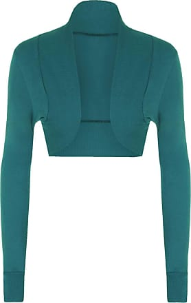 The Celebrity Fashion Ladies Cotton Long Sleeve Cropped Boleros Shrugs Womens Cardigans Jumpers Top Teal