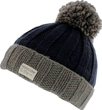 KuSan Moss Yarn Turn Up Bobble Beanie Hat (PK1525) (Grey/Navy)