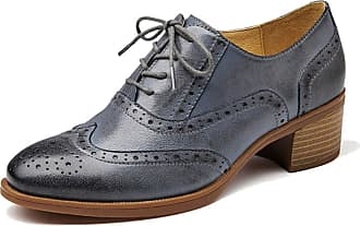 MGM-Joymod Womens Girl Casual Vintage Lace-up Comfort Thick Heel Perforated Wingtip Brogues Oxford Work Office School Dress Shoes (Grey) 5 M UK