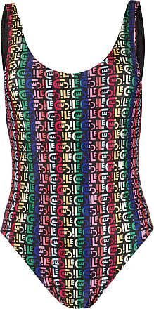 être cécile rainbow logo print swimsuit - Black