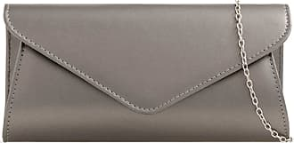 LeahWard Womens Faux Leather Clutch Bags Wedding Flap Handbags 490H (Pewter)
