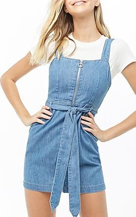 7752f0feee095 Forever 21 Forever 21 Zippered Denim Overall Dress, Medium Denim