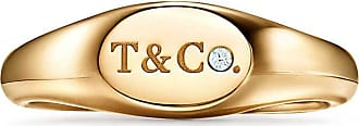Tiffany & Co. Tiffany & Co micro oval signet ring in 18k gold with diamonds, 6 mm wide - Size 7