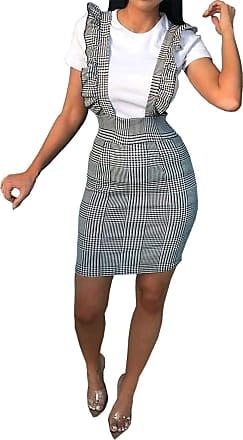 Islander Fashions Womens Hounds Dog Tooth Tartan Strap Frill Pinafore Ladies Plus Size Mini Dress Mono Check UK 18