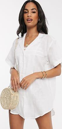 Zulu & Zephyr oversized linen beach shirt in white