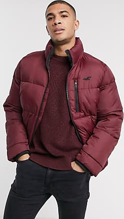 Hollister heavy puffer jacket in burgundy-Red