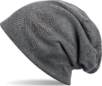 styleBREAKER Warm Beanie hat with Star Rhinestone Application, Unisex 04024023, Color:Dark Grey-Grey