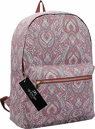 Quenchy London Ladies Backpack, Girls Casual Daypack Bag for School, Work or Hand Luggage Travel 20 Litre Size 39cm x32 x16 QL7163P (Pink Paisley)