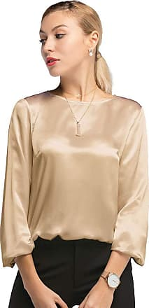 LilySilk Womens 22MM Relaxed Fit Round Neck Silk Blouse T Shirt Top for Ladies (Tan, S)