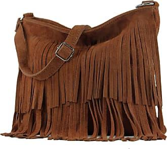 modamoda.de Ital. Leather bag Shoulderbag Shoulder bag Ladiesbag Wild leather T125, Colour:Kupferbraun