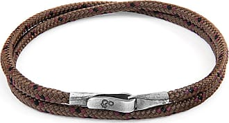 Anchor & Crew Brown Liverpool Silver and Rope Bracelet - 21cm (most popular)