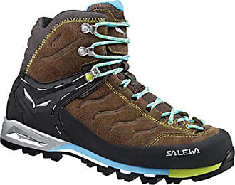 25a7dc599bcd85 Salewa Mountain Trainer Mid Chaussures de Randonnée Hautes Femme, Marron  (Tarmac/Swing Green