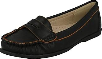 Spot On Ladies Flat Moccasin Saddle Trim Shoe - Black Synthetic - UK Size 6 - EU Size 39 - US Size 8