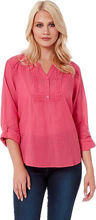 Roman Originals Women Roll Sleeve Cotton Top - Ladies Casual Lightweight Spring Notch Neckline Blouses Tops - Pink - Size 24