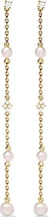 Yoko London 18kt yellow gold Trend Freshwater pearl and diamond drop earrings - 6