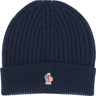 Moncler logo patch knitted beanie - Azul