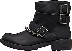 Rocket Dog leather look biker boots with buckle and chain detail