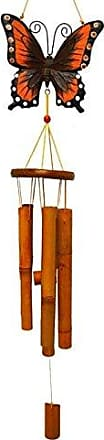 Great World Company StealStreet 448004 39 Bamboo Wind Chime with Painted Butterfly Top, Red Tone