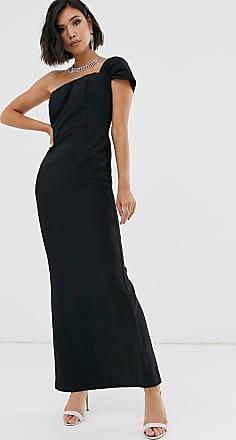 Yaura one shoulder bardot sleek maxi dress in black