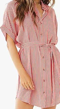 Forever 21 Forever 21 Striped Belted Shirt Dress Rose/cream