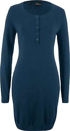 Bonprix Dam Stickad klänning i blå lång ärm - bpc collection 23703415d49ef