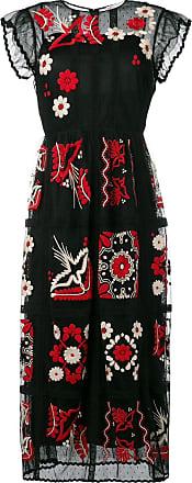 Red Valentino Vestido longo bordado - Preto