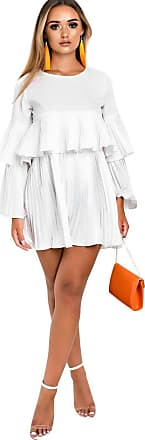 Ikrush Tessy Frill Shift Dress White UK 16