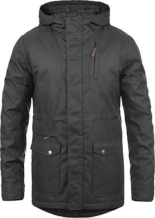 Solid Bello Mens Parka Outdoor Jacket Winter Coat with Hood, Size:M, Colour:Dark Grey (2890)