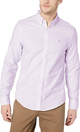 Original Penguin Mens Long Sleeve Core Oxford Button Down Shirt with Stretch, Lavendula, Large