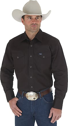 Wrangler Mens Cowboy Cut Western Two Pocket Long Sleeve Snap Work Shirt-Firm Finish - Black - XXX-Large Tall