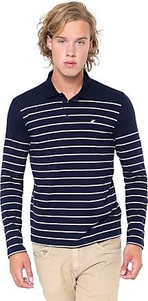 Malwee Camisa Polo Malwee Reta Listrada Azul-marinho/Cinza