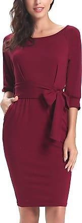 Abollria Womens Elegant 3/4 Sleeve Work Office Casual Bodycon Pencil Midi Dress Pockets Wine Red