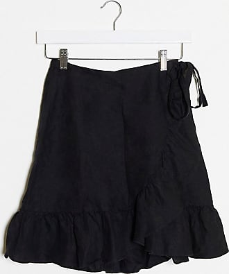 & Other Stories co-ord linen wrap mini skirt in black
