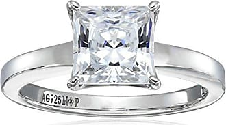 Amazon Collection Platinum Plated Sterling Silver Solitaire Engagement Ring set with Princess Cut Swarovski Zirconia (2 cttw), Size 7
