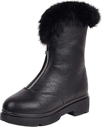 RAZAMAZA Women Fashion Square Heel Short Boots Zip Dress Boots Collar Winter Shoes Ankle Boots Black Size 38 Asian