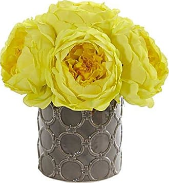 Nearly Natural 1637-YL Large Rose Artificial Gray Vase Silk Arrangements Yellow