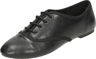 Spot On Ladies Spot On Smart Brogue Style Shoes F80171 - Black Manmade - UK Size 5 - EU Size 38 - US Size 7