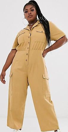 Asos Curve ASOS DESIGN Curve denim utility jumpsuit in mustard-Orange