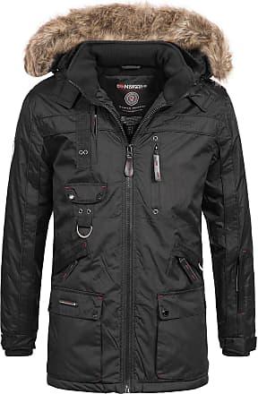 Geographical Norway Mens Winter Parka Jacket Chirac Detachable Fur Hood - Black, XXL