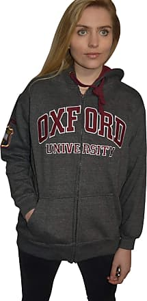 Oxford University Licensed Zipped Unisex Hooded Sweatshirt Charcoal (XL)