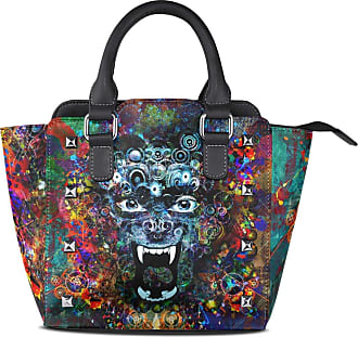 NaiiaN for Women Girls Ladies Student Tote Bag Purse Shopping Shoulder Bags Leather Abstract Digital Machinery Lion Navy Light Weight Strap Handbags