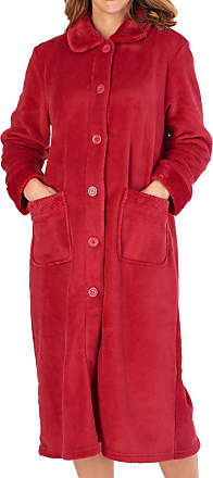 Slenderella Ladies Button Up Coral Fleece Dressing Gown Bath Robe with Waffle Detail Large (Red)