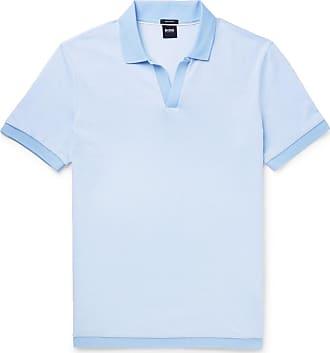 5fed3d1cc HUGO BOSS Slim-fit Textured-knit Cotton Polo Shirt - Blue