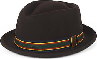 Hat To Socks Stylish Brown Wool Pork Pie Hat Waterproof & Crushable, Handmade in Italy (Brown, 56 cm)