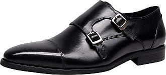 Jamron Mens Genuine Leather Double Monk Strap Shoes Formal Business Loafers Oxfords Wedding Dress Shoes Black SN01717 UK9.5
