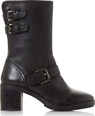 Dune London Dune Ladies Womens RILEYS Triple Strap Block Heel Biker Boots Size UK 8 Black Block Heel Biker Boots