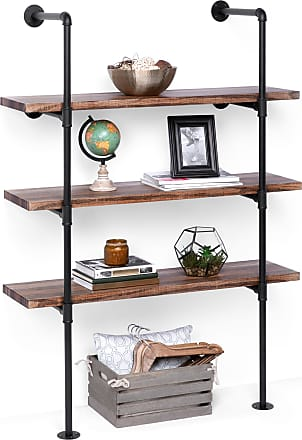 Best Choice Products 4-Tier Industrial Wall-Mounted Iron Pipe Bracket DIY Bookshelf Frame