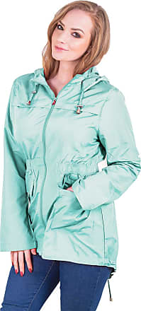 Love my Fashions Womens Plain Lightweight Showerproof Hooded Mac Ladies Waterproof Rain Jacket Long Sleeve Active Outdoor Zipped Raincoat Plus Size Mint Green